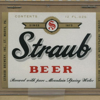 Straub Beer label 12 oz. St. Marys PA