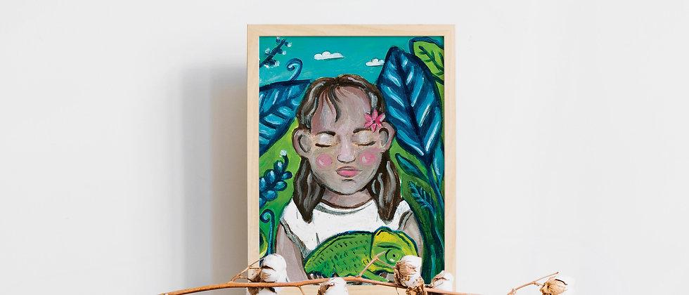 פוסטר של ילדה בג'ונגל