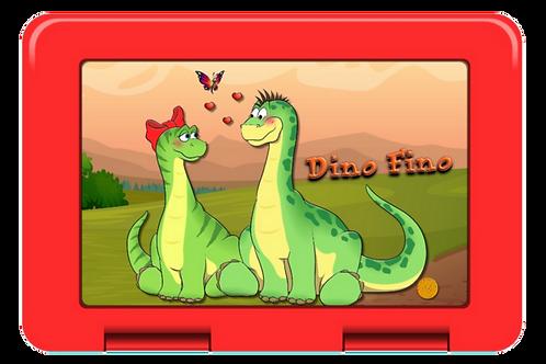 Brotdose Dino und Sauriah rot