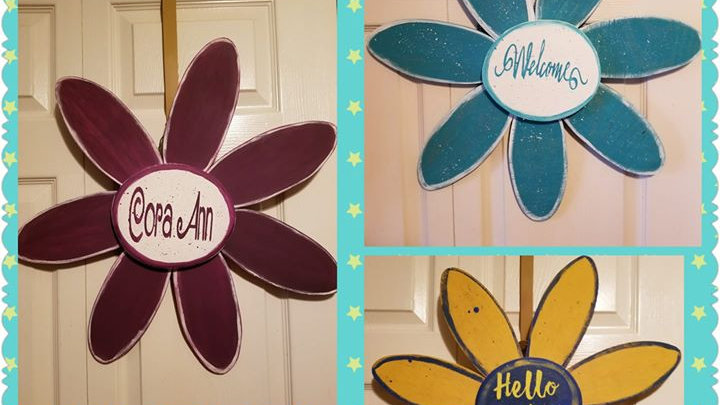 Flower signs Welcome or Personalized