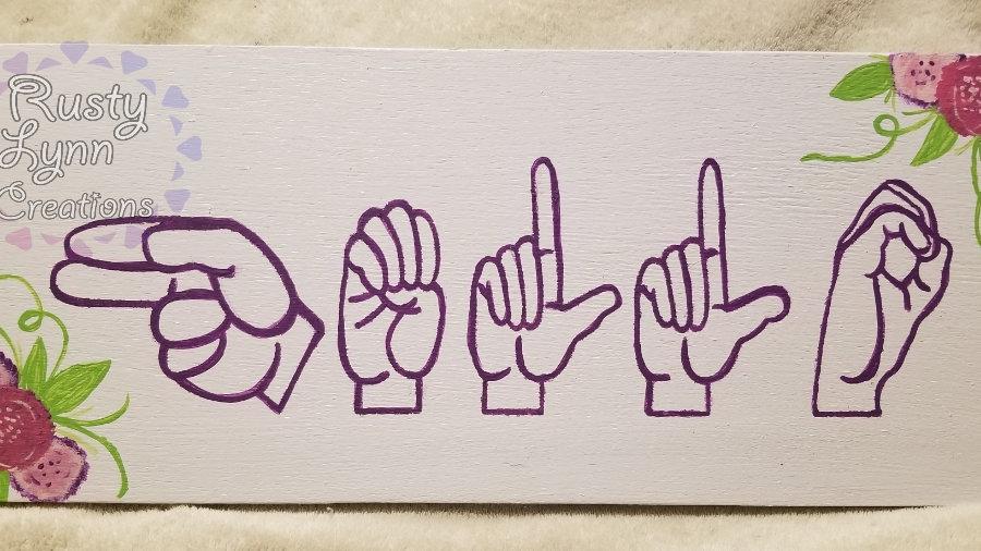 Hello sign language wood sign
