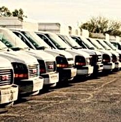 line of delivey trucks