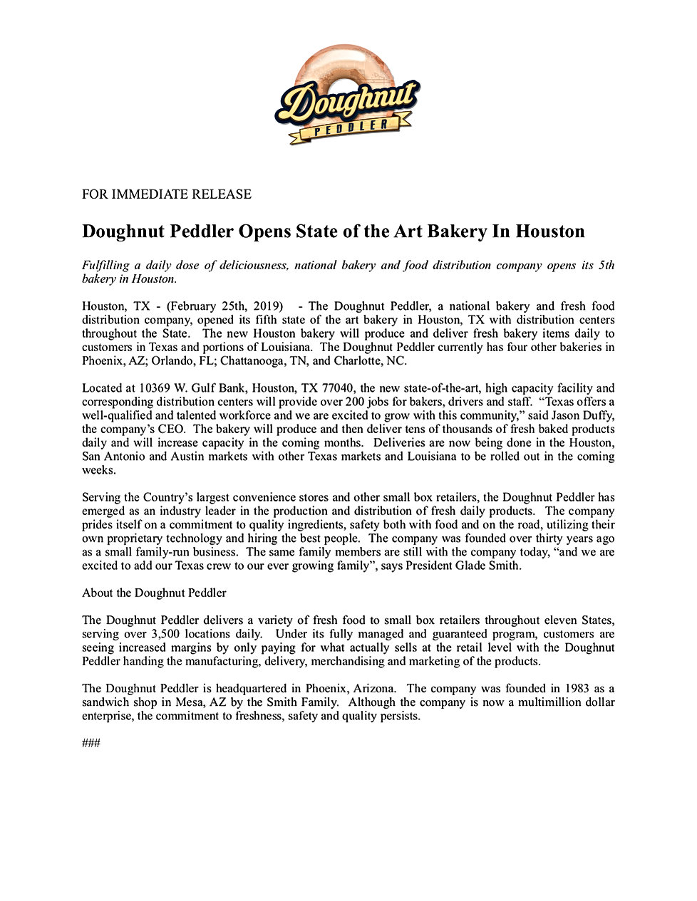 TDP Houston Opening Press Release 19.02.