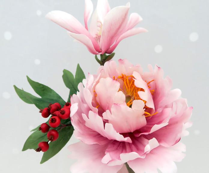 Magnolia Peony and Berries