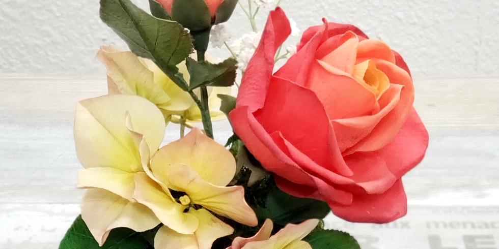 Hydrangea, Rose & Baby's Breath - Gum Paste Flowers