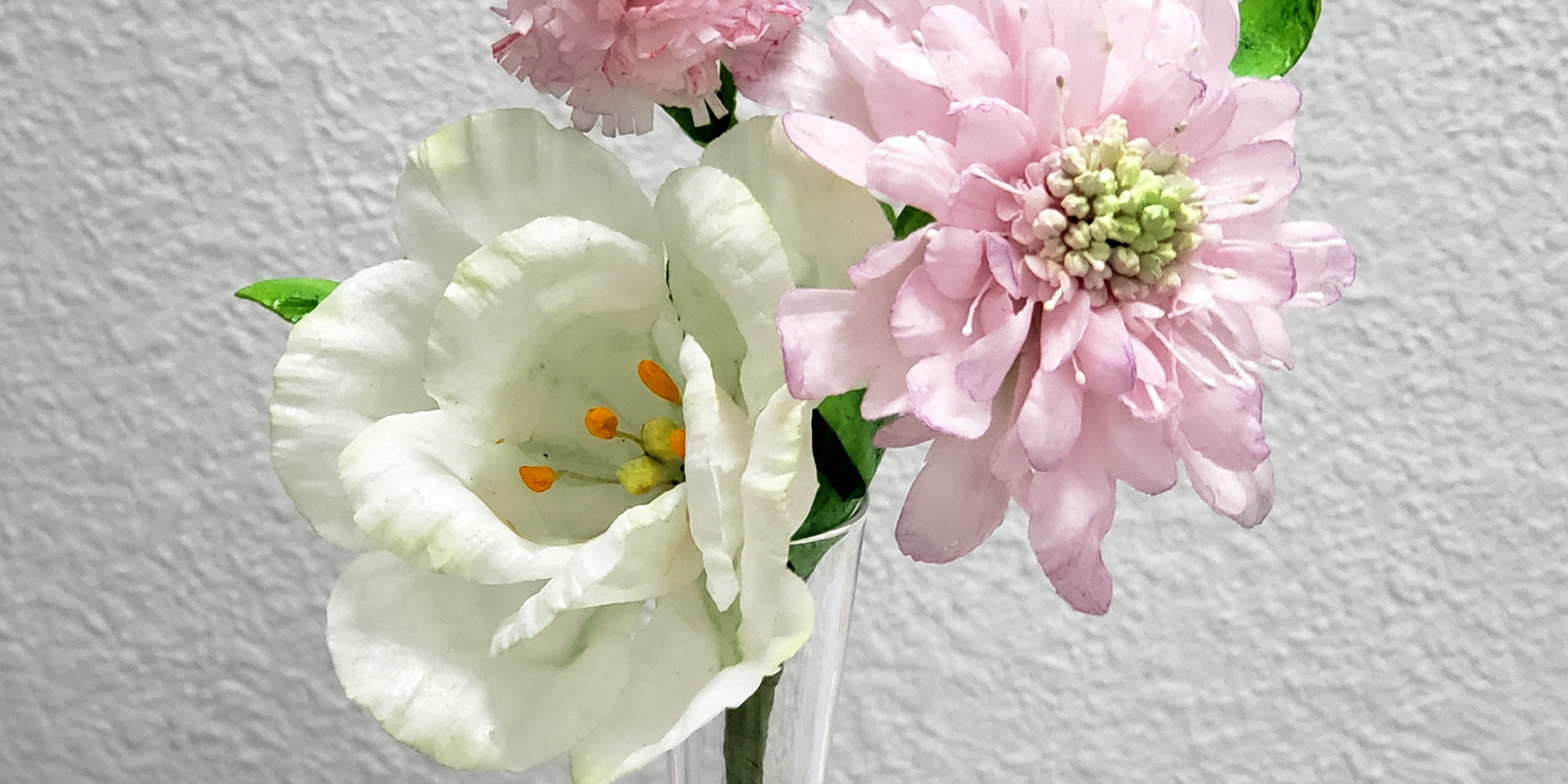 Lisianthus, Scabiosa & Carnation - Wafer Paper Flower