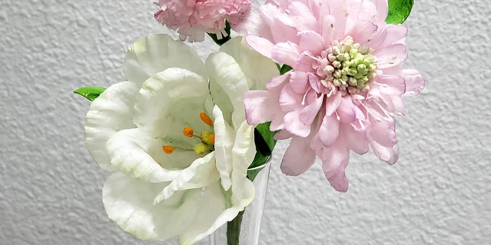 Lisianthus, Scabiosa & Carnation - Wafer Paper Flower