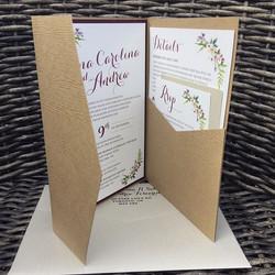 Pocket Wood Vintage Wedding Invite
