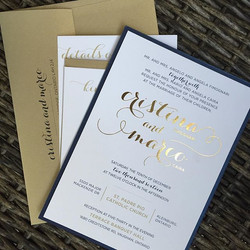 Gold Foil and Digital Wedding Invite