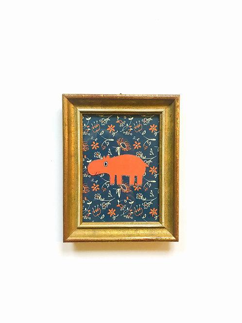 HIPPO FLOWERS ORANGE/NAVYBLUE