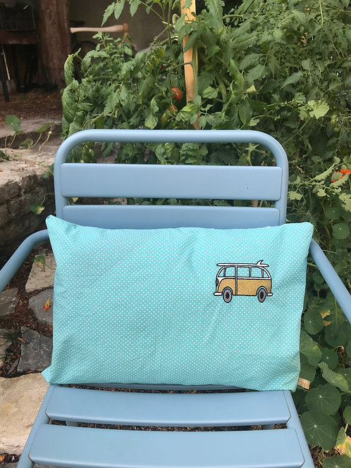 CUSHION TURQUOISE DOTS/GOLD