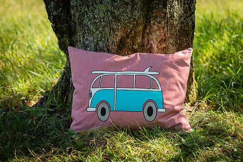 VW CUSHION RED/TURQUOISE