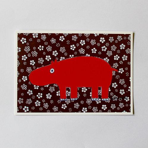 POSTCARD HIPPO
