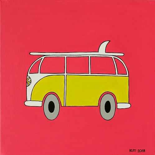 VW BUS PINK/YELLOW