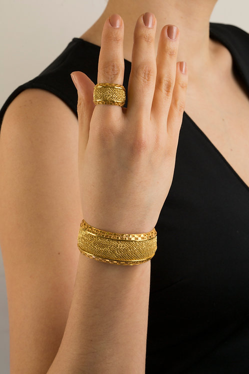 24k Gold Plated Sterling Silver Silk Mesh Bangle