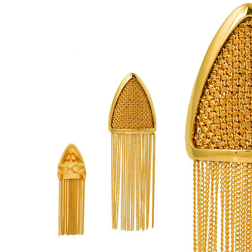 24k Gold Plated Sterling Silver Silk Mesh Triangle Ring