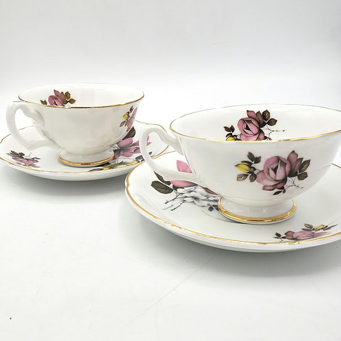 Royal Grafton Fine Bone China Teacups with Saucers Made in EnglandSet of 2