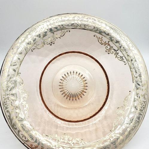 Vintage Heisey Pink Glass Silver Overlay Manderin Hat Bowl