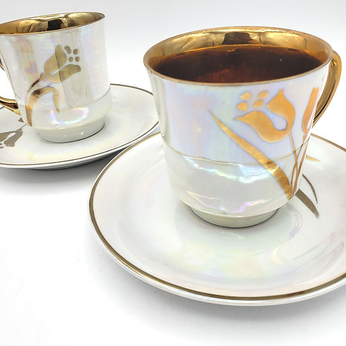 Vintage Cmielow Poland Teacups with Saucers