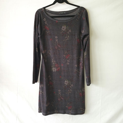 Nally + Millie Dark Gray with Flowers Tunic Dress - L