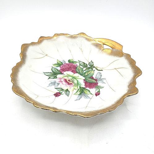 "Vintage 7"" Trinket Dish with Handle Roses"