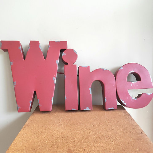 """Metal Wall Wine Sign 30"""" Red Distressed"""