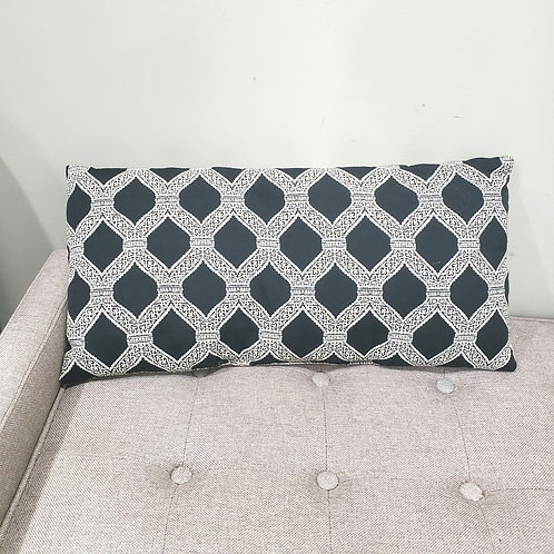 """Black and White Decorative Accent Pillow Embroidery 12"""" x 26"""""""
