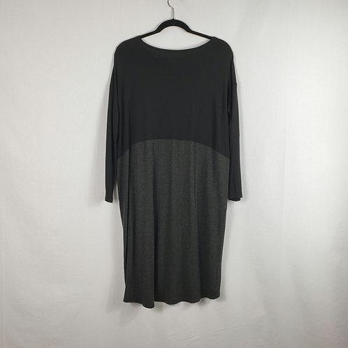 Eileen Fisher Gray/Black Colorblock Dress - XS