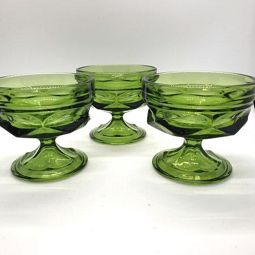Vintage Dessert Glass Cups Set of 3