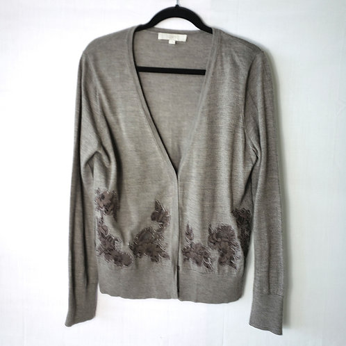 LOFT Light Brown Cardigan with Lace Cutout - XL