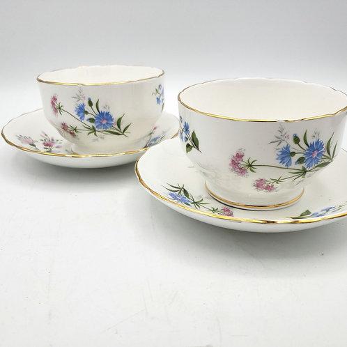 Staffordshire Fine Bone China England Wild Flowers Teacups and Saucers Set of 2