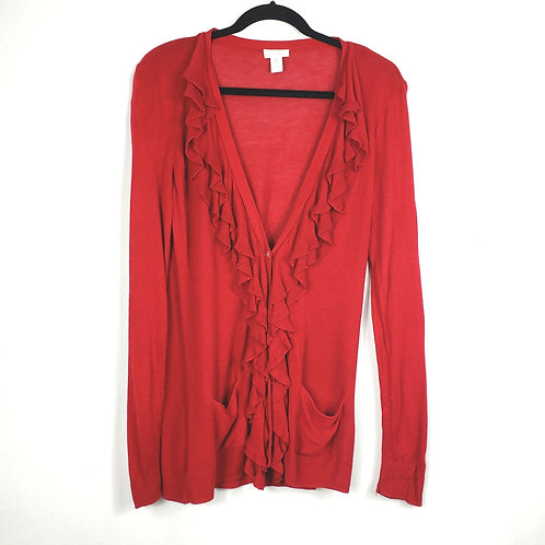 Chico's Red Ruffle Cardigan - size 0