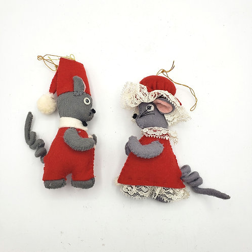 Vintage Felted Mouse Ornaments Set of 2