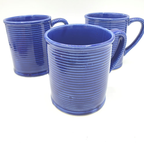 Vintage Blue Glazed Mugs Japan Set of 3