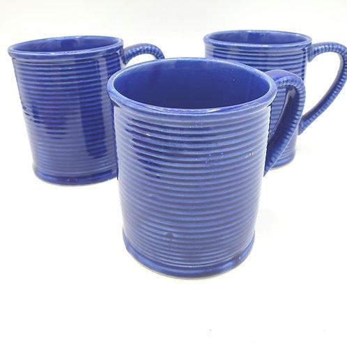 Vintage Blue Glazed Mugs Japan Set of 3
