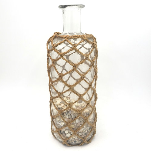 """Decorative 13"""" Glass Bottle with Crushed Shells"""