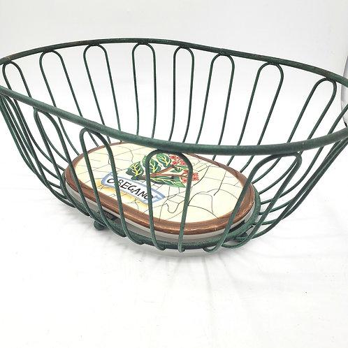 Green Metal Wire Basket Ceramic Baes with Oregano