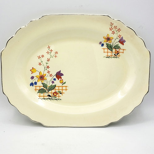 "Vintage Art Deco Lido W.S. George Canarytone Blossoms Serving Platter Floral 12"""