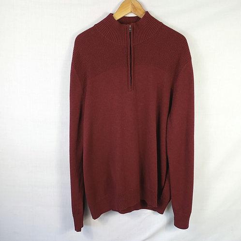 Merona Burgundy Zip Neck Sweater - XXL