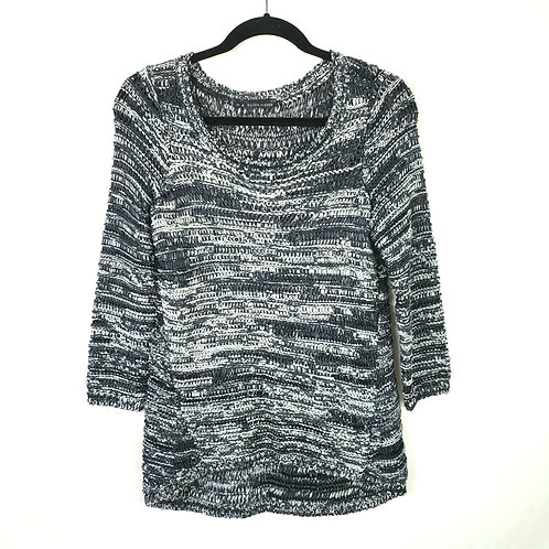 Eileen Fisher Black & Gray Open Knit Pullover - S