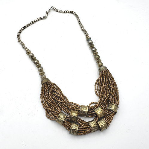 Bronze Multistrand Beaded Necklace