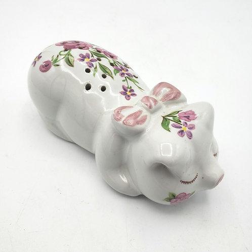 """Vintage Floral Ceramic Pig Shaker 5"""""""