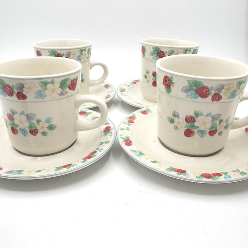 International Stoneware Strawberries Teacups with Saucers Set of 4