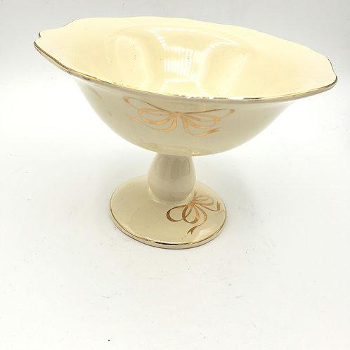 Teleflora Gift Ivory Ceramic Compote, Gold Ribbon Pattern, Vintage Pedestal Cand
