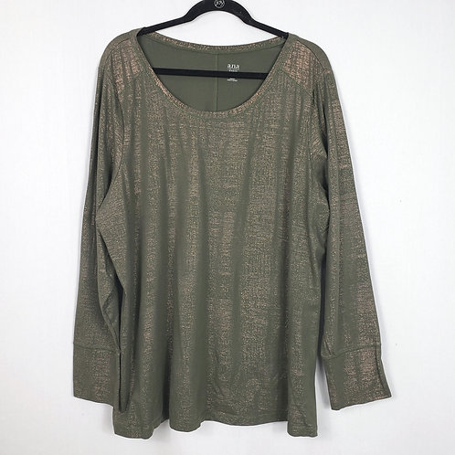 Ana Olive Green and Gold Longsleeve Top - 3X