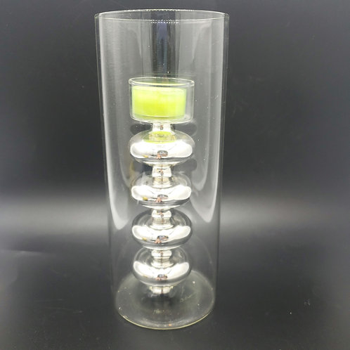 Glass Silver Bubble Tealight Candle Holder