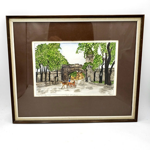 """Quebec 1974 Porte St. Louis Signed and Matted Watercolor 12""""x15"""""""