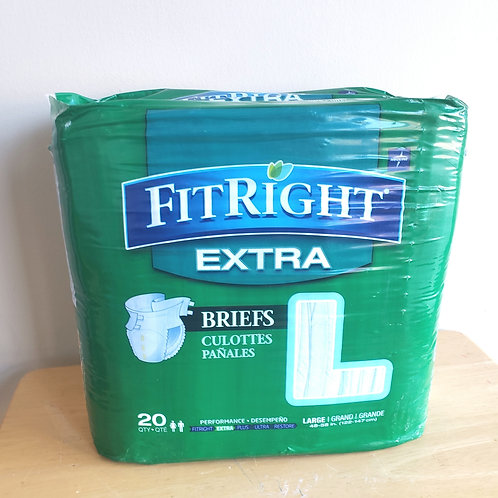 New Unopened Fit Right Extra Briefs 20 ct Size Large