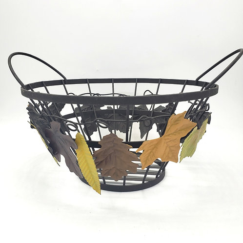 """Metal Wire Basket with Fall Leaves 12"""" W"""