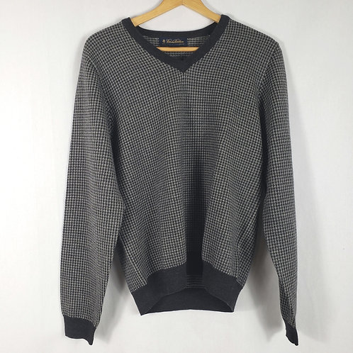 Brooks Brothers Gray Houndstooth Merino Sweater - S